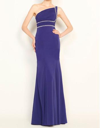 Top Style Sheath Modest Asymmetrical Neckline Full Length Chiffon Evening Party Dresses