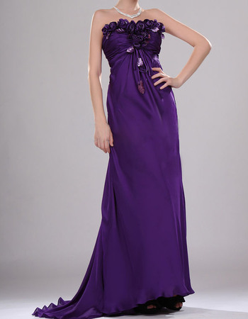 Beautiful Style Strapless Full Length Chiffon Evening Dresses with Roses