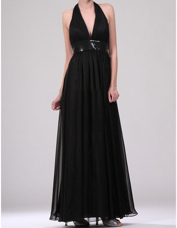 Inexpensive Halter V-neck Full Length Chiffon Evening Dresses with Sequins Waist