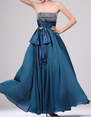 Dramatic Empire Strapless Sleeveless Rhinestone Bodice Full Length Chiffon Evening Dresses