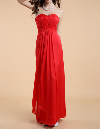 Affordable Simply Column Sweetheart Long Pleated Chiffon Evening Party Dresses