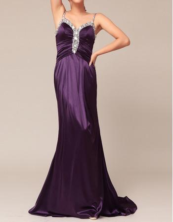 Sexy Dramatic Sheath Spaghetti Straps Long Elastic Woven Satin Evening/Prom Party Dresses