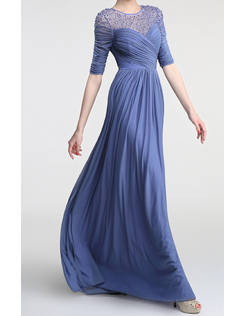 Elegant Illusion Tulle Neckline Full Length Chiffon Mother Of The Bride Evening Dresses with Half Sleeves