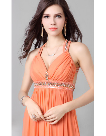 Sexy Low V-neckline Sweep Train Chiffon Evening/Prom Dresses with Criss-cross Straps