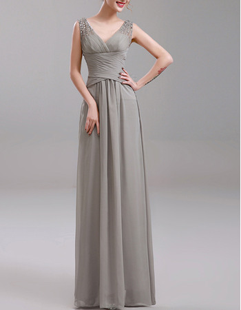 Elegant V-Neck Sleeveless Long Pleating Chiffon Evening Dresses with Beaded