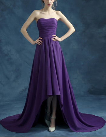 Simple Strapless High-Low Asymmetric Court Train Chiffon Evening Party Dresses with Pleated