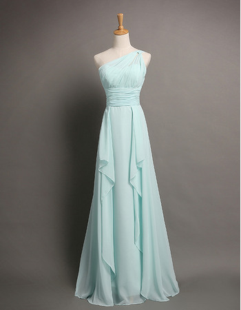 New Arrival A-Line Asymmetrical Neckline Long Chiffon Evening Dresses With Cascading Ruffles