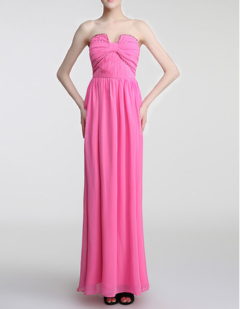 Stylish Unique U-neck Strapless Full Length Chiffon Pleated Evening Party Dresses