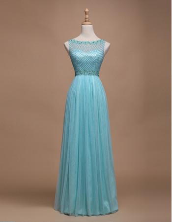 Custom A-Line Bateau Sleeveless Floor Length Tulle Evening Dresses