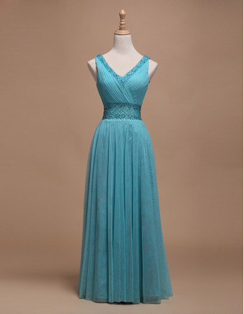 Discount A-Line V-Neck Sleeveless Full Length Pleated Tulle Evening Dresses with Beaded