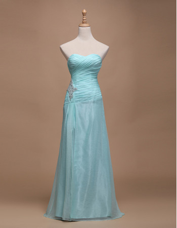 Elegant A-Line Sweetheart Full Length Organza Satin Evening Dresses with Beaded Appliques