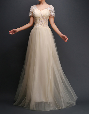 Custom Sweetheart Long Tulle Evening Dresses with Short Sleeves