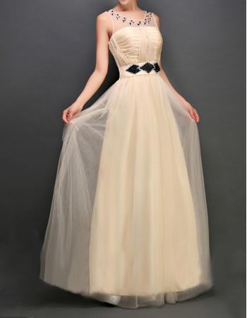 Discount Bateau Sleeveless Floor Length Tulle Evening Dresses