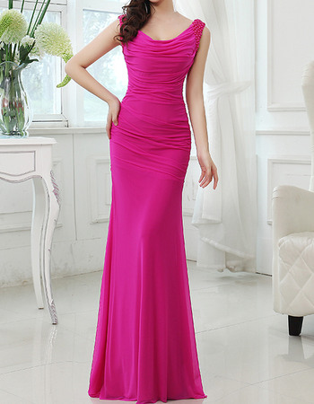 Custom Sexy Sheath Sleeveless Floor Length Chiffon Evening Dresses