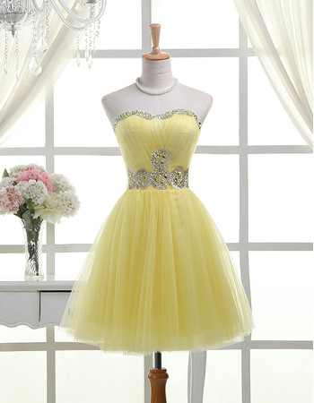 Dramatic A-Line Sweetheart Short Pleated Tulle Homecoming Dresses with Rhinestone Beaded