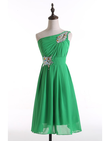 Sweet Asymmetrical Neckline Chiffon Homecoming Party Dresses with Rhinestone Detail