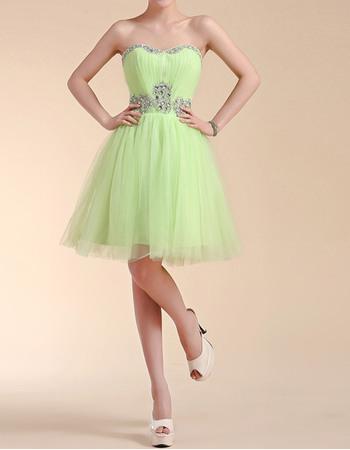 Custom A-Line Sweetheart Short Satin Tulle Homecoming Dresses
