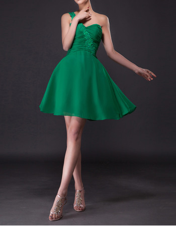 A-Line Appliques One Shoulder Short Chiffon Junior Homecoming Dresses with Ruched Bodice