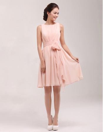 Discount Bateau Sleeveless Short Pleated Chiffon Homecoming Dresses with Sashes