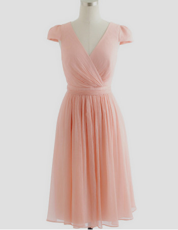 New Arrival Chic V-Neck Short Pleated Chiffon Bridesmaid Dresses with Cap Sleeves Under 100