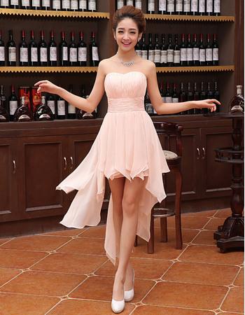 Modern Sweetheart Sleeveless Hi-low Asymmetric Hem Ruched Chiffon Homecoming Dresses