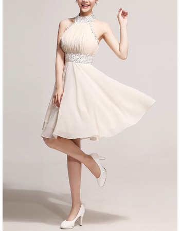 Affordable Sexy A-Line Halter Knee Length Chiffon Homecoming Dresses