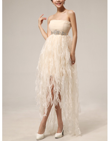 Beautiful Strapless Short Chiffon Ruffle Homecoming Dresses
