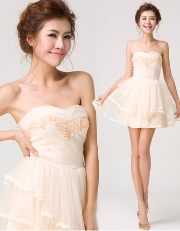 A-Line Sweetheart Mini Satin Tulle Homecoming Dresses