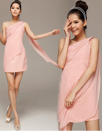 Custom Sheath One Shoulder Sleeveless Mini Chiffon Homecoming Dresses