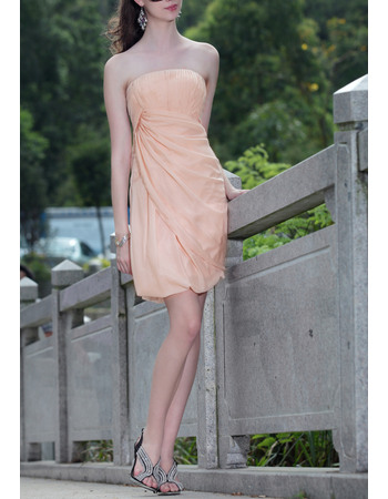 Discount Column Strapless Mini Chiffon  Cocktail Party Dresses