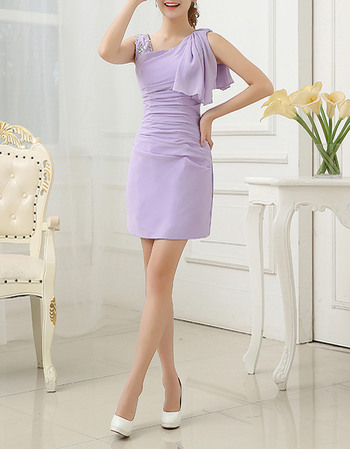 Simple Asymmetric Neckline Chiffon Homecoming Dresses with Ruched Waist