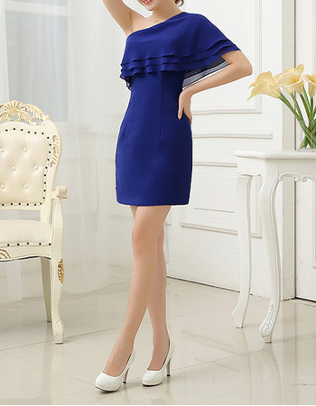 Simple Asymmetric Shoulder Short Chiffon Homecoming Dresses With Flutter Sleeve