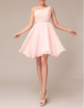 Simply Elegant Empire Ruched One Shoulder Chiffon Homecoming Dresses
