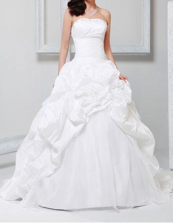 Princess Ball Gown Beaded Strapless Taffeta Pick-Up Skirt Wedding Dresses with Split Front