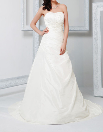 Elegant A-Line Strapless Taffeta Wedding Dresses with Asymmetrical Ruched