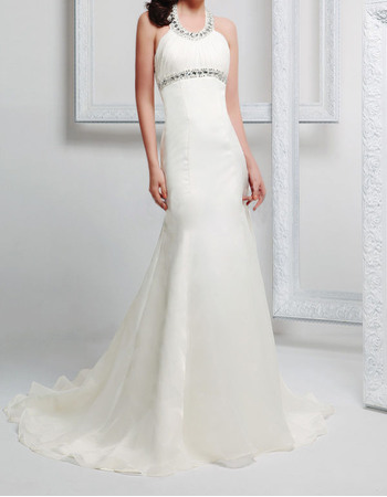 Perfect Rhinestone Halter Neckline Long Chiffon Wedding Dresses