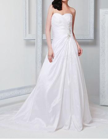 A-Line Sweetheart Court Train Pleated Taffeta Wedding Dresses with Beading Detail