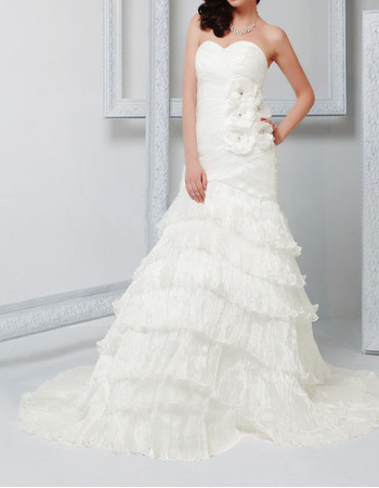 Romantic Sweetheart Court Train Tiered Skirt Wedding Dresses with 3D Flowers