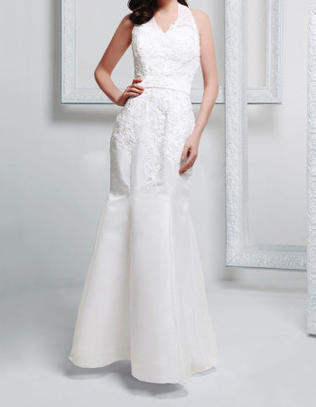 Delicate Halter-Neck Mermaid Satin Wedding Dresses with Beaded Appliques
