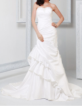 Romantic Sweetheart Ruched Satin Wedding Dresses with Side Tiered Ruffle Skirt