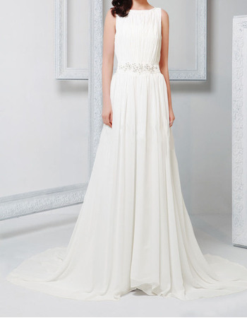 Vintage Column Bateau Court Train Pleated Chiffon Wedding Dresses ...