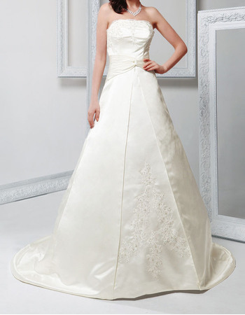 Discount Beaded Applique Strapless Court Train Satin Wedding Dresses with Split Front