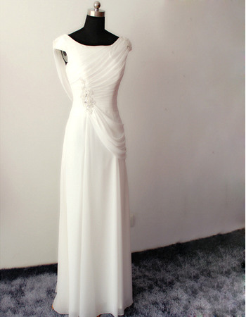 Vintage Asymmetrical Neckline Long Chiffon Pleated Wedding Dresses with Cowl Back