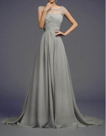 Affordable A-Line Sheer Bateau Sweep Train Chiffon Prom Evening Dresses