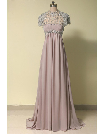 Elegant Empire Short Sleeves Long Chiffon Beading Evening Dresses