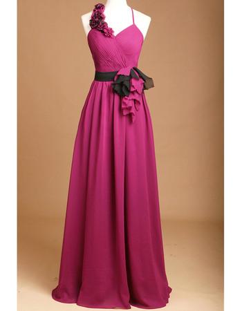 Womens Spaghetti Straps Asymmetric Straps Chiffon Prom Evening Dresses with Sashes