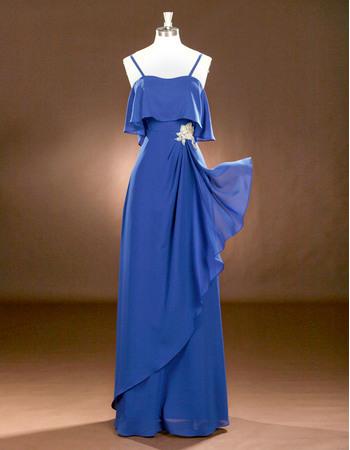 Custom Spaghetti Straps Floor Length Chiffon Drape Prom Evening Dresses