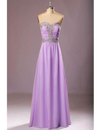 Inexpensive Sweetheart Floor Length Chiffon Rhinestone Prom Evening Dresses