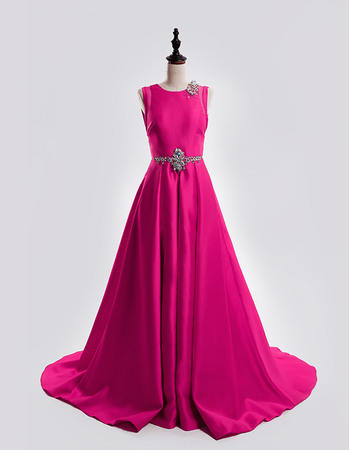 A-Line Sleeveless Court Train Satin Backless Prom Evening Dresses