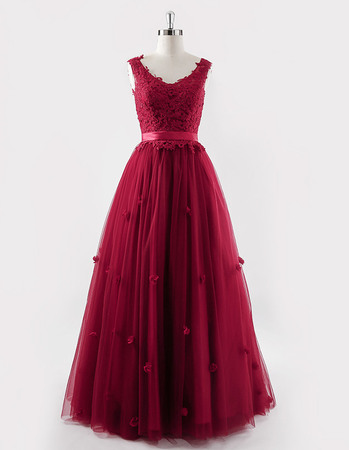 Ball Gown Floor Length Organza Embroidery Evening Dresses